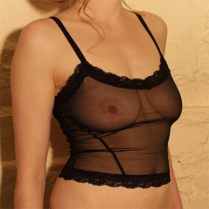 Ava Cami Top Black Mesh Front 2