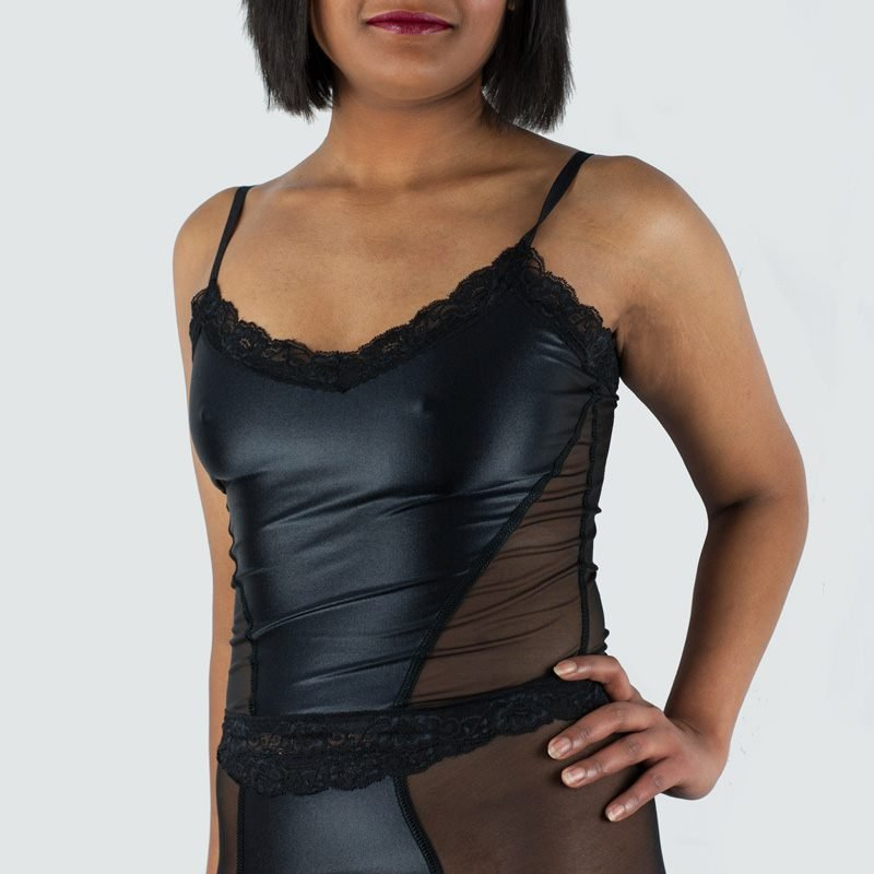 Ava Long Cami Top Black Satin Side