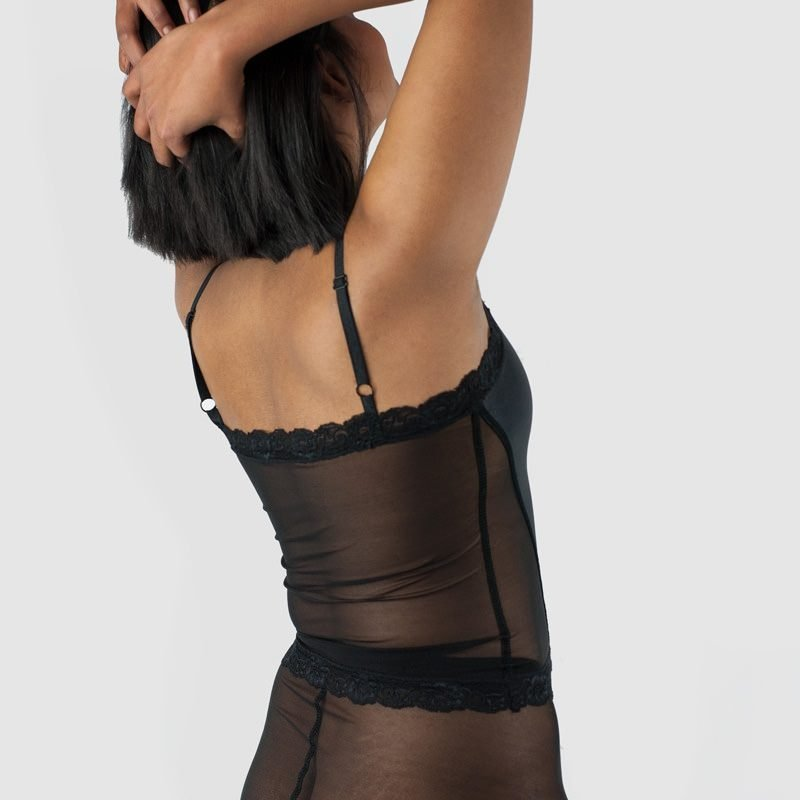 Ava Long Cami Top Black Satin Side Back