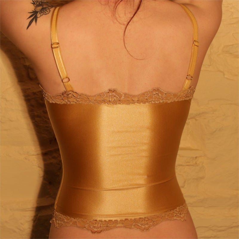 Ava Long Cami Top Gold Back