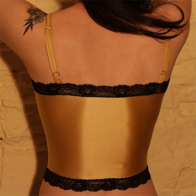 Charlie Cami Top Gold Black Lace Back