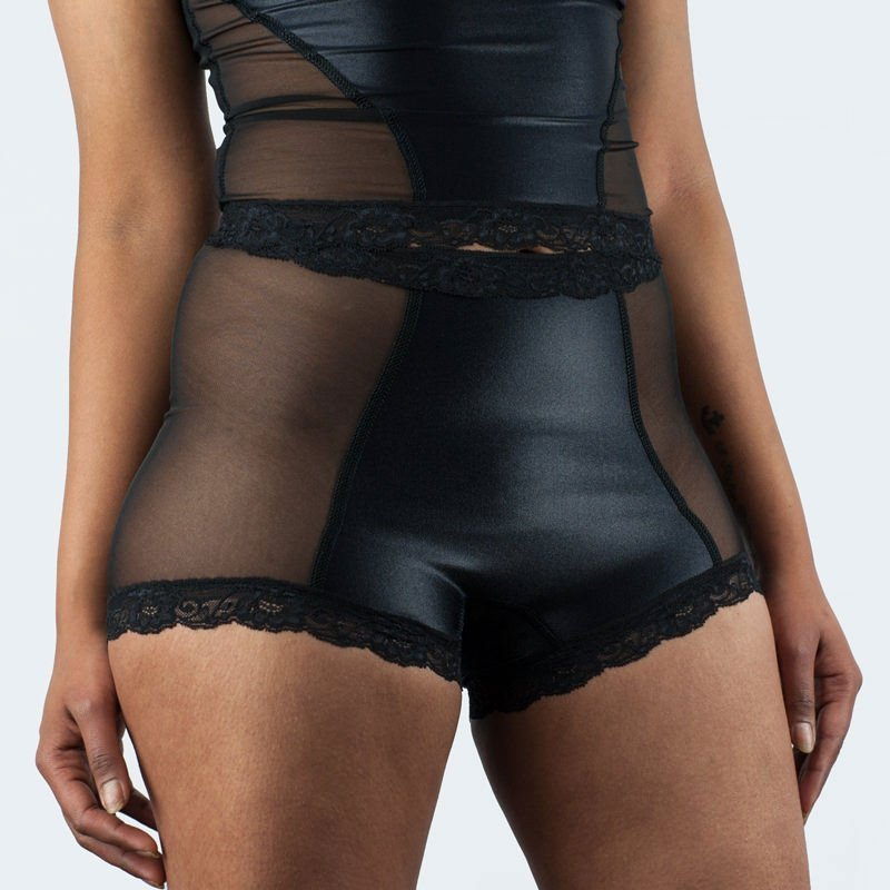 Paula Hot Knickers Black Satin Front