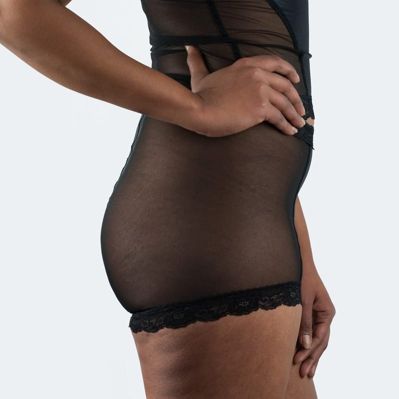 Paula Hot Knickers Black Mesh Side