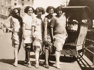 Vintage style women wearing garters