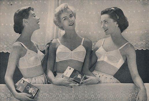 Women wearing vintage style bullet bra's.